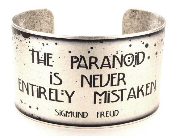Sigmund Freud Paranoia Quote Cuff, Psychology Bracelet, Science Jewelry, Halloween