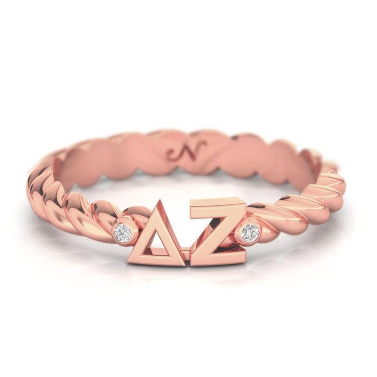 Delta Zeta Rose Gold Pavé Twist Letter Ring #delta-zeta #rings #rose-gold-plate
