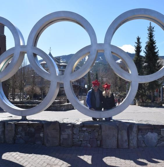 Hanging out in the Olympic Rings at Whistler in the ultimate Canadian Toques by Puffin Gear.  #toque #whistler #madeincanada