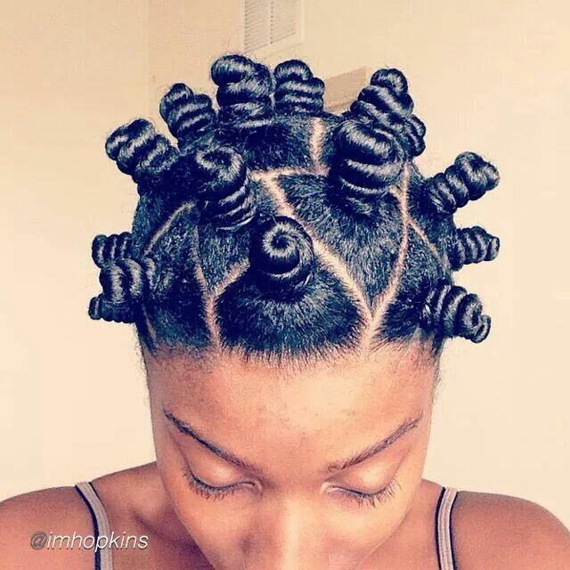 Natural hair. Bantu knot out.