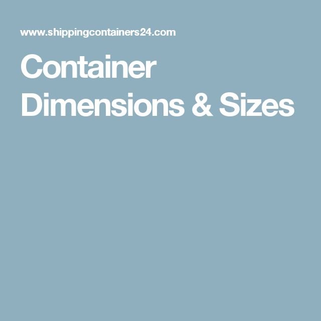 Container Dimensions & Sizes
