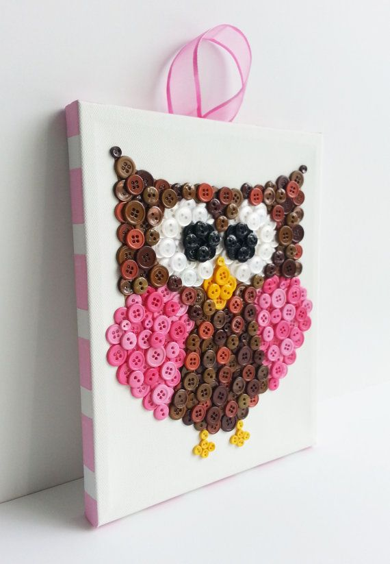 Button Art, Animal, Owl, Purple, Canvas, 8x10 ~ so cute for a child's or baby's room ~ check her out @ Etsy - she has different animals  very cute!