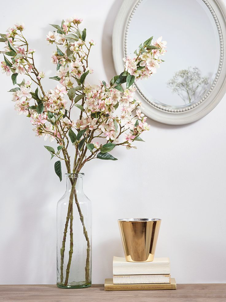 NEW Three Faux Apple Blossom Stems