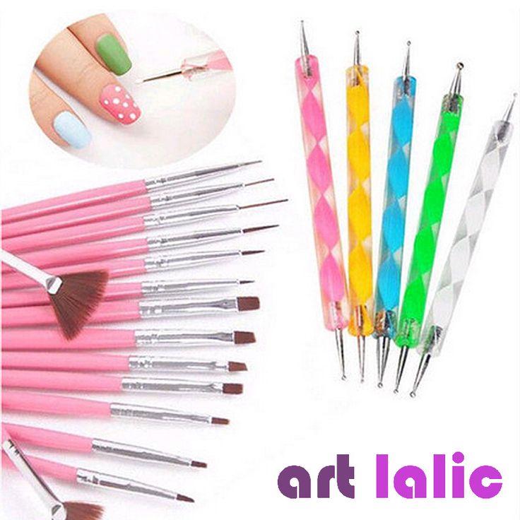 Nail Art Polish Brushes Tool Kit 20Pcs Nail Art Salon Design Set Dotting Painting Drawing Polish Brushes Pen Tools PINK