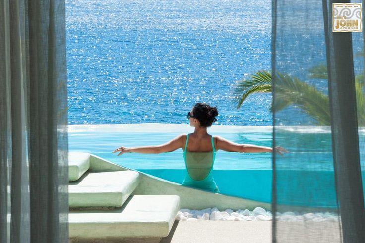 Enjoy the blue magic all around you! #luxury #accommodation #Mykonos More at saintjohn.gr/saint_john_photosEN/