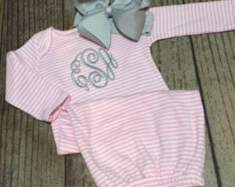 Monogrammed baby girl set, coming home outfit, newborn, infant, personalized…