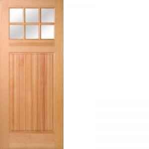 Rogue Valley Doors Fir Wood 6 Lites Low-E IG Square Top Beaded Panel 1-3/8 Hip Raised Panel Door
