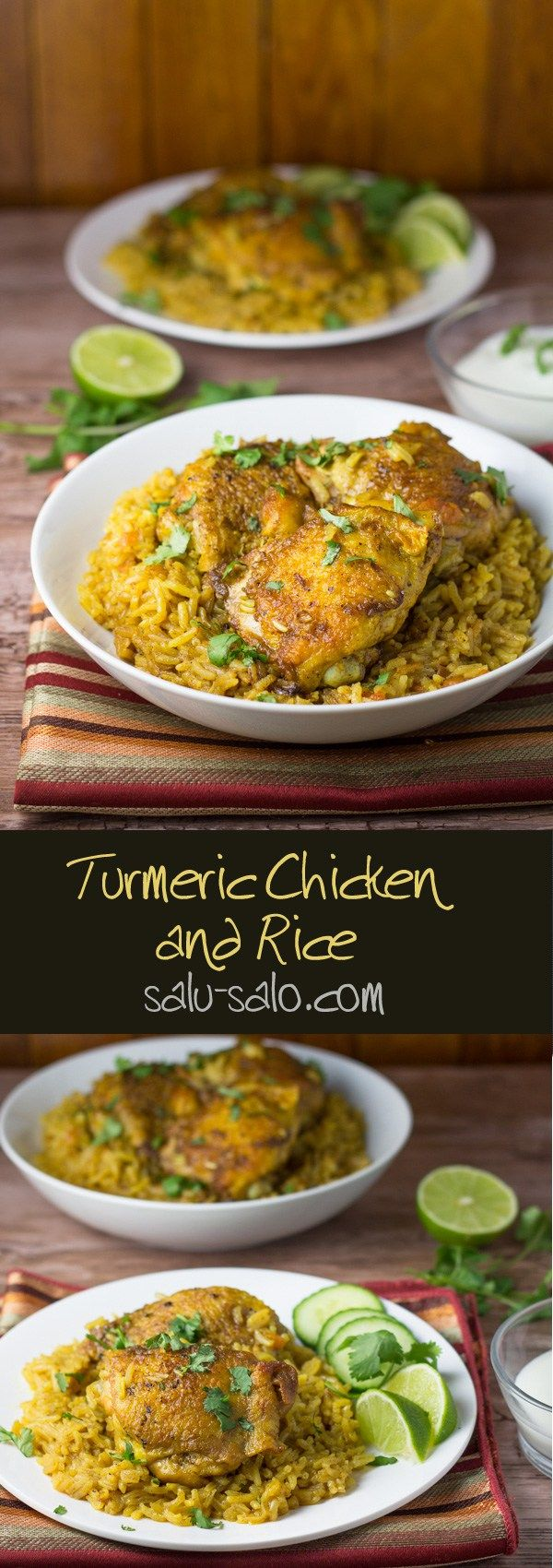 In this turmeric chicken and rice dish, the chicken pieces are browned in melted butter and then cooked on low heat with the aromatics, spices and rice.