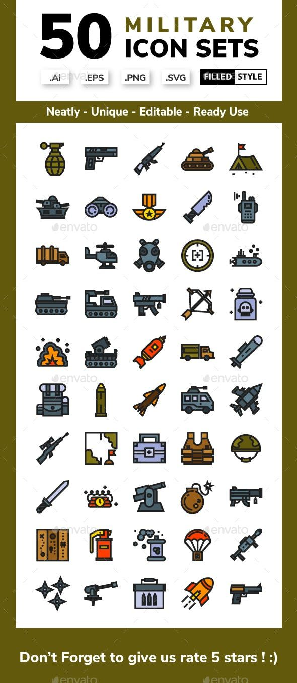 Military Filled Outline Icons Style Icon Icon Set Outline