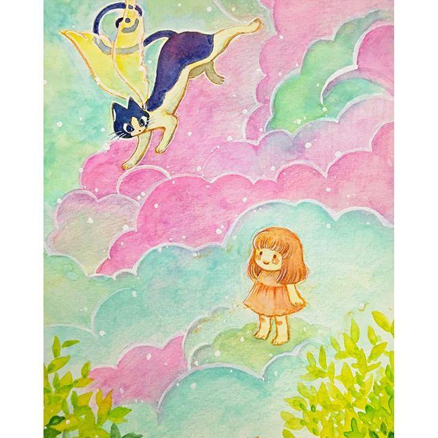 昨日の鍵シッポタマの絵 完成〜🎶 あの子の幸せの扉 開けに行こっ♡ …とかなんとか  #イラスト #illustration  #painting #ねこ #cat #もと  #もとc #かぎしっぽ  #猫 fukudamotoko 2016/08/25 09:19:29