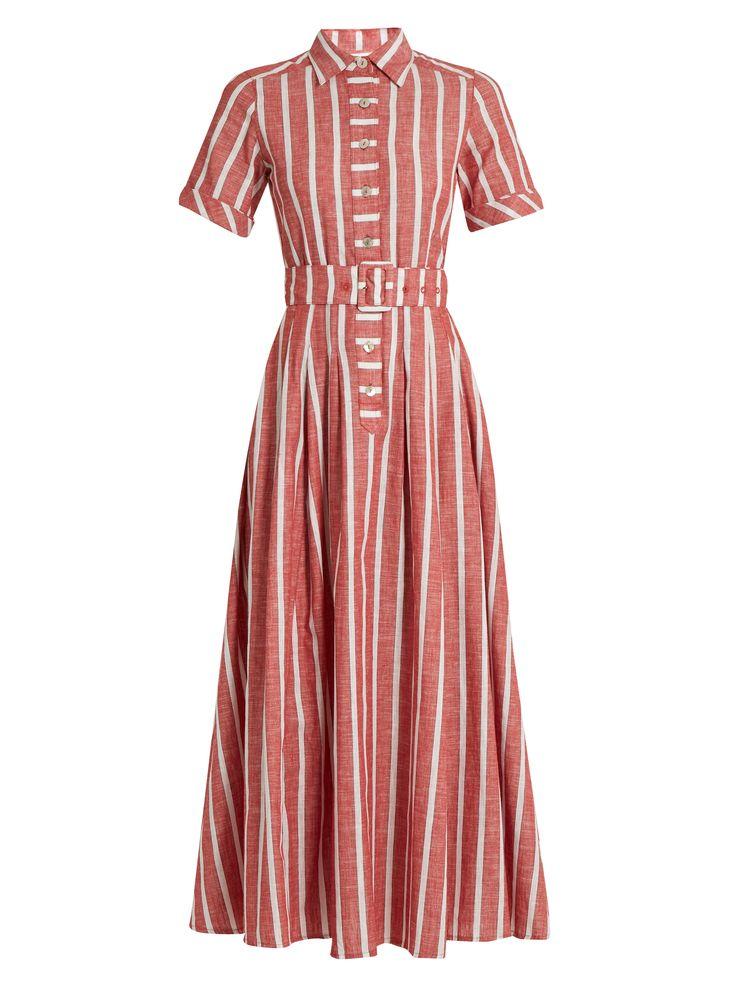 Short-sleeved striped cotton and linen-blend dress | Gül Hürgel | MATCHESFASHION.COM
