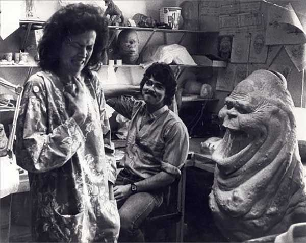 Sigourney Weaver reacting to special effects artist Steve Johnson's model of Slimer for Ghostbusters.