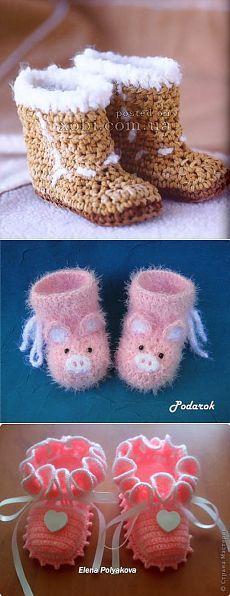Детские носки и пинетки вязаные крючком и спицами. » Страница 7