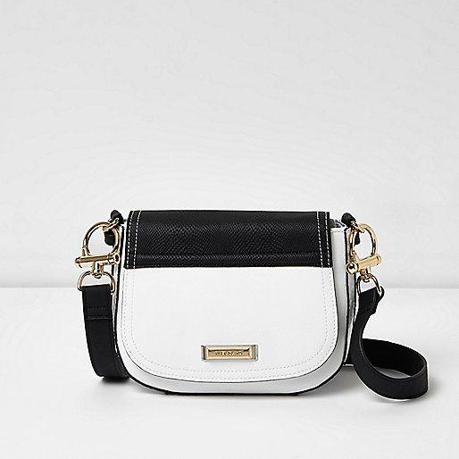 White and black panel satchel bag