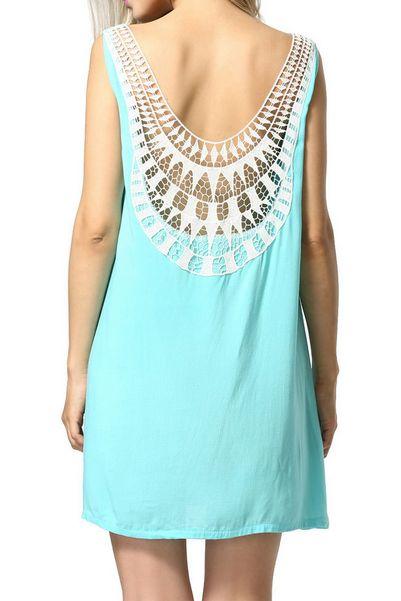 Lace stitching blue sleeveless loose dress
