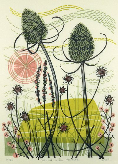 Angie Lewin - Island with Teasels. Inspired by both the clifftops and saltmarshes of the North Norfolk coast and the Scottish Highlands, I depict these contrasting environments and their native flora in wood engraving, linocut, silkscreen, lithograph and collage.