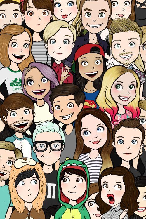 the ones i reconizw are: Pewds, iisuperwomanii, dan and phil, Miranda, Tyler Oakley, Louise, Jenna Marbles, Zoella, Joe, Ian, and Hannah