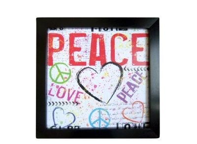Peace Red Framed Wall Art | Perfect for a tween's or teen's bedroom.  #myrfstyle #SweepsEntry