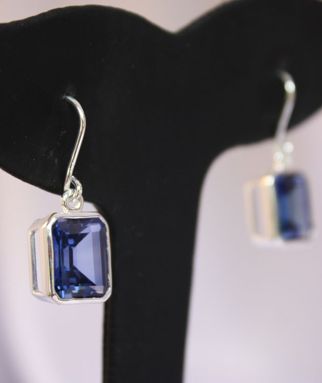 Synthetic Sapphire Silver Earrings | Treat Yourself - You Deserve It