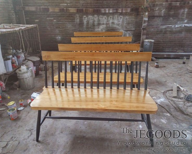 A #Scandinavian #Retro furniture of Windsor Spindle Bench made of teak solid carefully handmade by Jegoods Woodworking Studio Indonesia at factory prices.