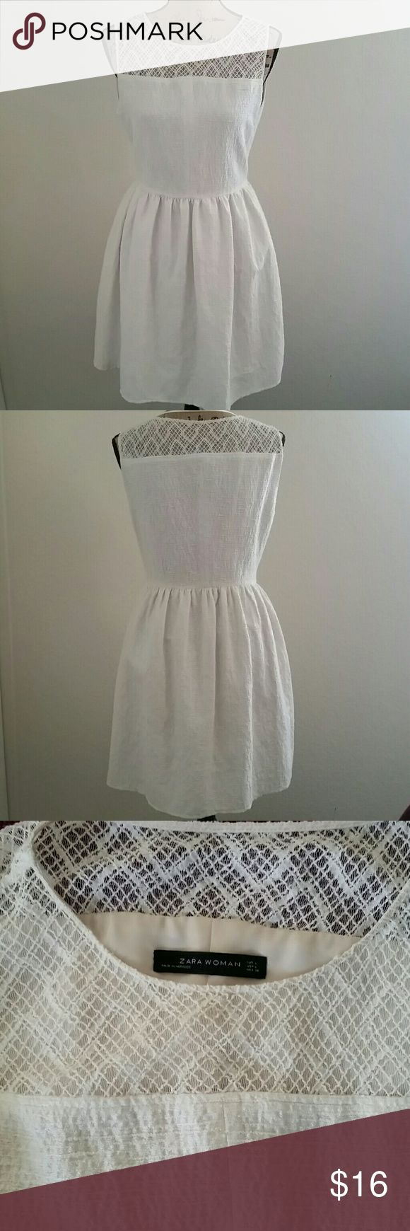 Cream Zara Cocktail Dress Super cute cream cocktail dress. Featuring sleeveless crochet lace top and side zip opening. Material: 42% cotton 33% polyester 25% acrylic. Perfect dress for spring. In good condition. Dry cleaned and ready to wear. Zara Dresses
