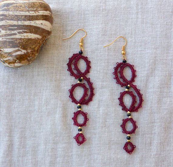 Wine red tatted lace earrings , tatting lace , statement jewelry , tatted jewelry , frivolite , lace jewelry
