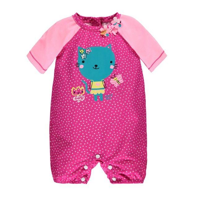 """Swimwear Elbow Sleeve """"Rashguard"""" One-Piece Swimsuit Multi Pink / Maillot une-pièce à manches aux coudes type « rashguard » Souris Mini"""