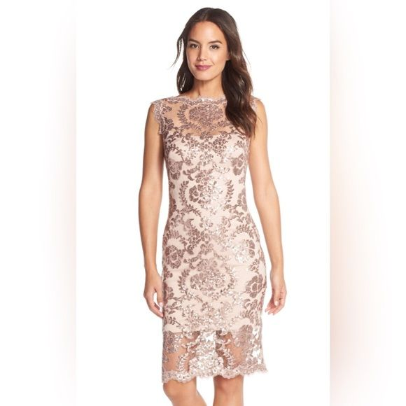 Tadashi Shoji sequin illusion dress NWT Brand new with tags Tadadhi sequin illusion dress in nude color very beautiful and classy size 6. Tadashi Shoji Dresses