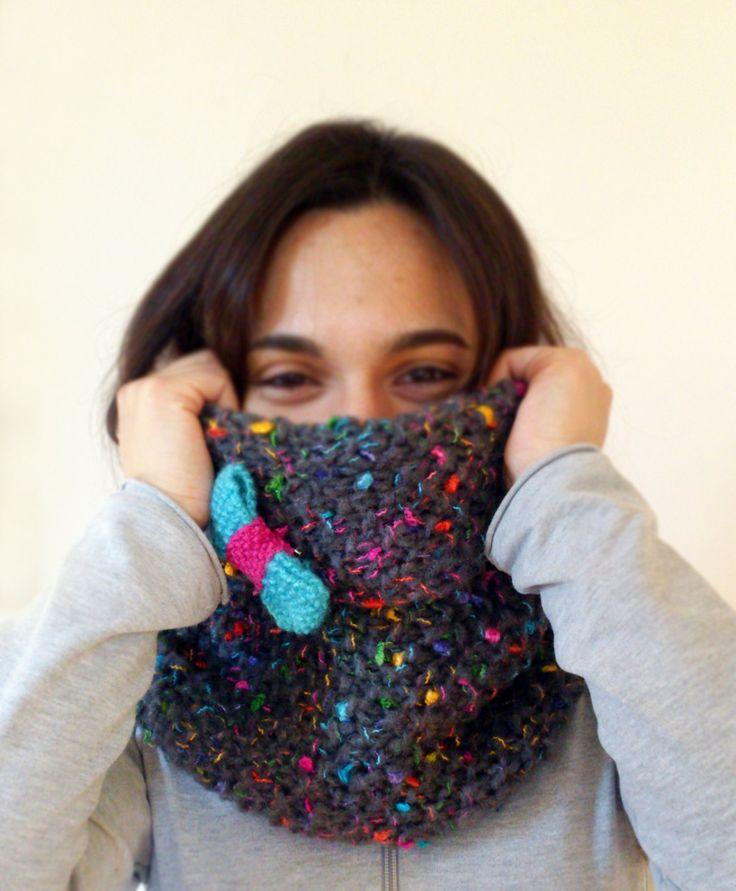 Knit Multicolor Cowl, Hand Knit Gray Cowl, Knit Cowl with Bow, Soft Knit Cowl, Multicolor Knit Hood, Chunky Knit Cowl, Color Flecks Cowl by ManaKori on Etsy