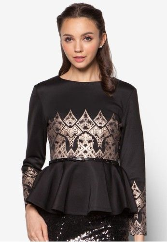 Geometric Foil Print Peplum Top from Zalia in black and gold_1