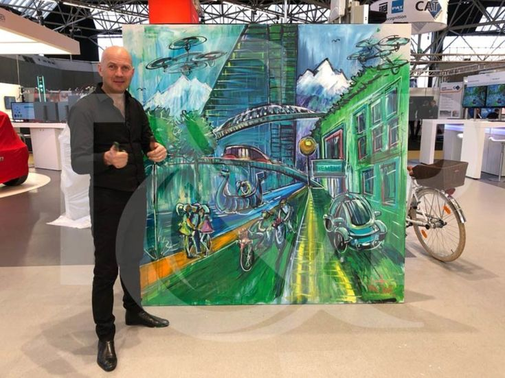 Viktor realized once again a magnificent painting but this time using the Splash Painting technique. #splashpainting #smartcity #greencity