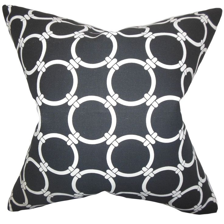 "Betchet Geometric 24-inch Down Feather Throw Pillow Black (24"" x 24""), Size 24 x 24"