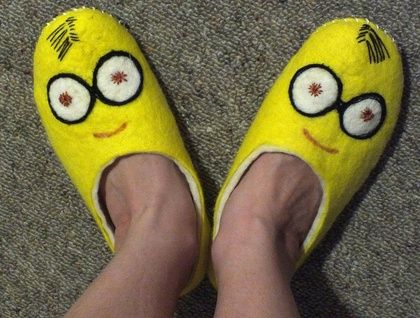 Felt slippers 100 % New Zealand wool felting warm Minions Yellow and White Made to Order