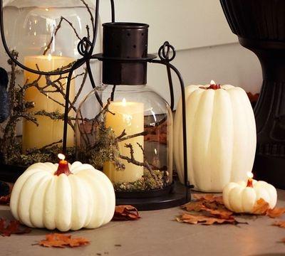 White Pumkin Candles: Holiday, Decorating Idea, Ideas, Fall Decorating, Fall Decorations, White Pumpkins, Lanterns, Halloween