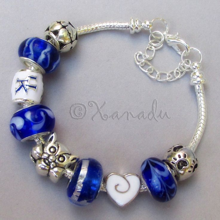 Kentucky Wildcats European Charm Bracelet With University Of Kentucky College Logo And Mascot Beads by xanaducharms on Etsy https://www.etsy.com/listing/197086303/kentucky-wildcats-european-charm