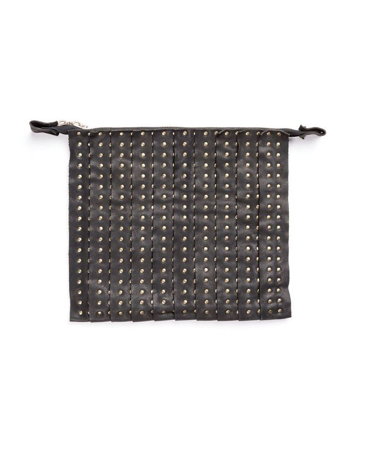 THE LOSER PROJECT Black clutch bag with sutds and double slider 25x33 cm 100% Leather