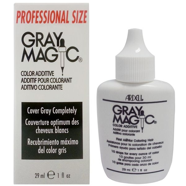 CO-78059 ARDELL GRAY MAGIC COLOR ADDITIVE - 1 OZ  Add Gray Magic to your color formula is all you need to cover the most resistant gray hair! It can be used with all colors, color additives, toners, tints and non-peroxide hair color. Hair color will penetrate deeper to last longer and fade less. It can also be added to neutralizers when perming tinted red or warm colors.