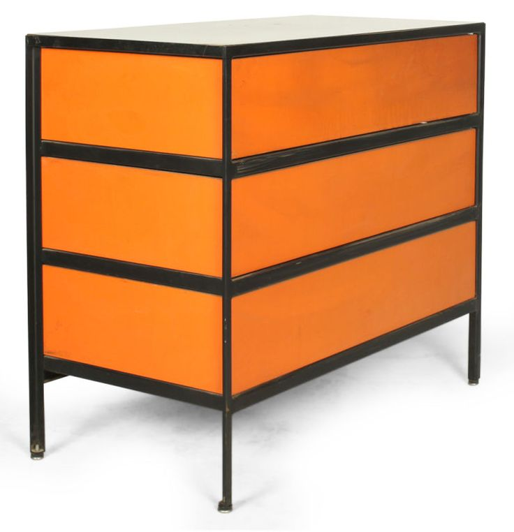 Pair Of Three Drawer Orange Lacquered Chests By George Nelson | From A  Unique Collection Of