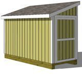 5x12 lean to shed showing the door on the end from the front