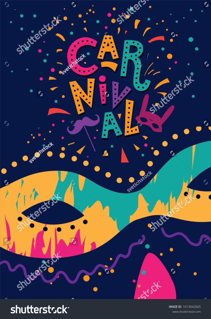 Carnival hand drawn lettering design, Masquerade Mask. Masquerade invitation card.