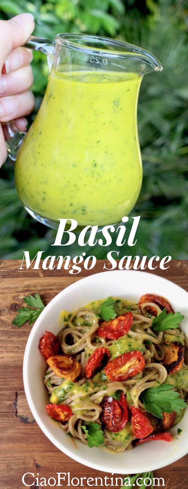 Basil Mango Sauce Recipe, ready in 5 minutes, sweet, savory and tangy, perfect for fish, scallops, chicken or your favorite pasta | CiaoFlorentina.com @CiaoFlorentina