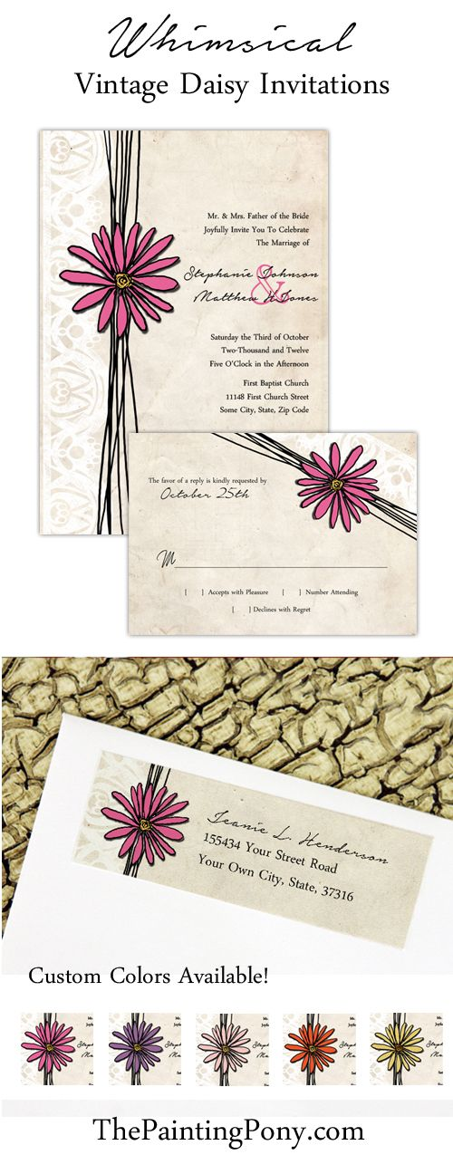 Whimsical Summer or Spring garden themed wedding. Could also be a rustic country farm bridal shower or party. Features a pretty and colorful daisy flower with elegant lace border set against an ivory vintage looking background. Comes in hot pink, blush pink, purple, yellow, and orange but custom colors are available upon request to match your wedding colors for 2017 and beyond. So cute! Coordinating rsvp, return address labels, save the date postcards, thank you notes, and more can be…