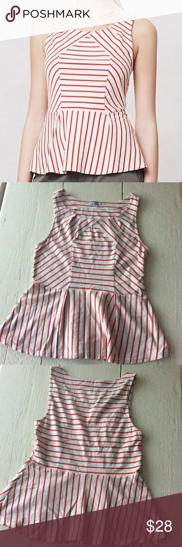 Anthro Peplum Top T-shirt material peplum top with red stripes. Leifnotes brand sold by Anthropologie.  >Condition: Very good  🚫 No Trades ✅ Discounted Bundles ✅ Reasonable Offers Anthropologie Tops Tank Tops