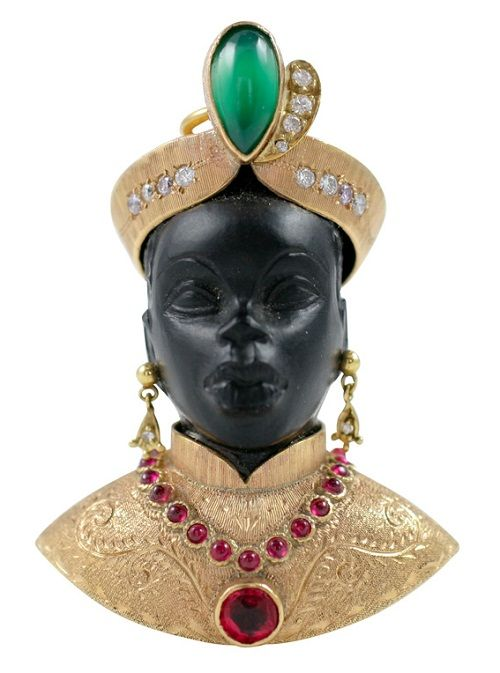 Highly Collectible Nardi Blackamoor. Italy. ca. 1950s. Guilio Nardi, founder of the renowned Venetian jewelry house of the same name, first started to design blackamoors in the early 1920s.