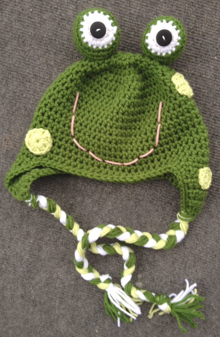 Frog Crochet Hat    https://www.etsy.com/listing/118433644/custom-girl-or-boy-frog-crochet-earflap
