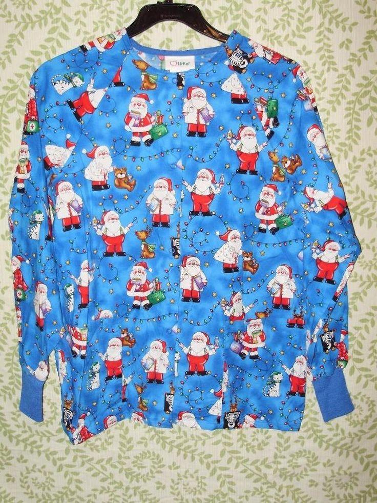 Womens scrub top-Small-Blue Christmas Santa Reindeer lights-Long sleeved cotton #life