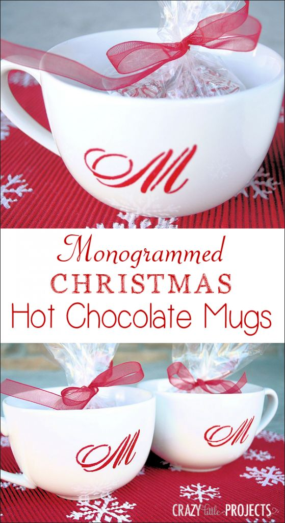 Monogrammed Christmas Hot Chocolate Mugs- these look easy enough for last minute gifts!
