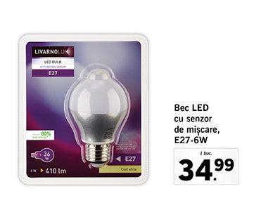 Bec LED  cu senzor  de mișcare,  E27-6W