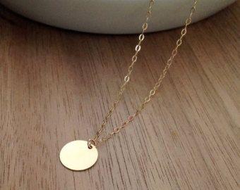 Angepasste gold Kreis Halskette einfache alltägliche von Alleu