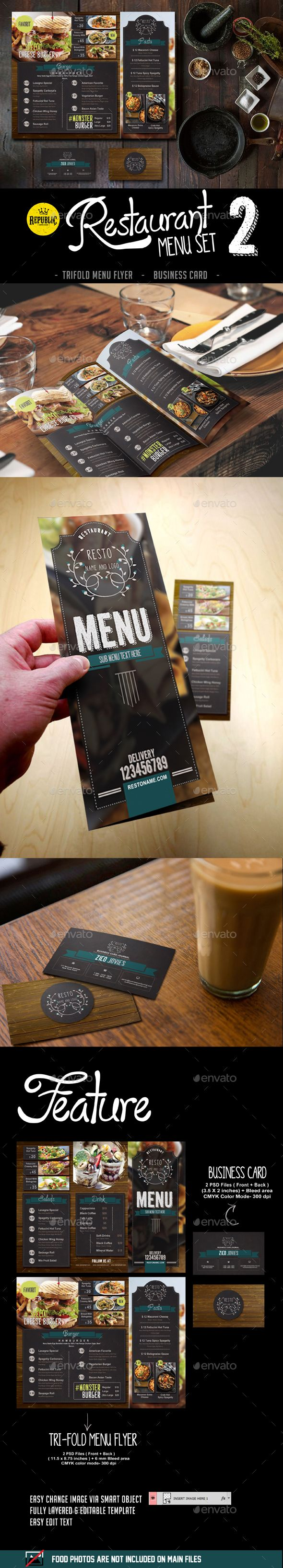 Restaurant Menu Set 2  #brochure #business card #branding • Click here to download ! http://graphicriver.net/item/restaurant-menu-set-2/15994676?ref=pxcr                                                                                                                                                                                 Más